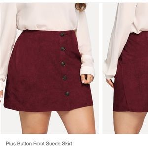 Plus button front suede skirt BRAND NEW